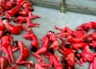 Aktivister har målat sig i röd kroppsfärg som protest mot den blodiga tjurrusningen i Pamplona. Foto: Peta