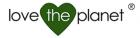 Loggan utgörs av texten love the planet över ett grönt hjärta