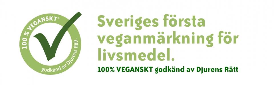 Märkningen 100% VEGANSKT® godkänd av Djurens Rätt är varumärkesregistrerad och Sveriges första egna veganska märkning.